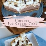 Cool and creamy S'mores cake made with ice cream.