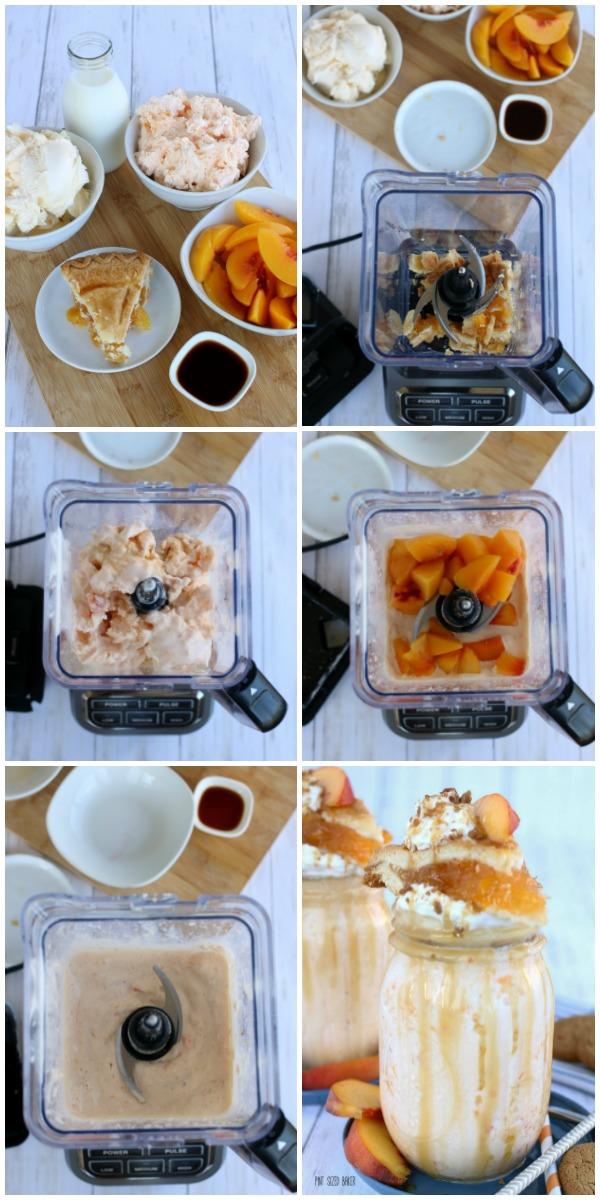 Step by step images to make a peach pie milkshake.