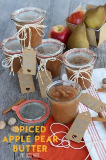 An easy homemade Apple Butter with Pears! Can be made on the stovetop or added to your slow cooker. Sweet and complex flavors of fall!