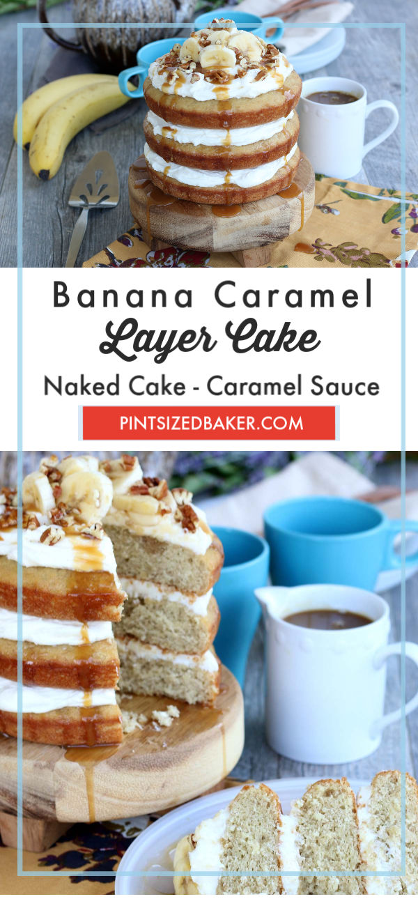 Making a naked cake is easy, beautiful, and fun! This banana caramel cake recipe sure to be a great way to celebrate your next family event.