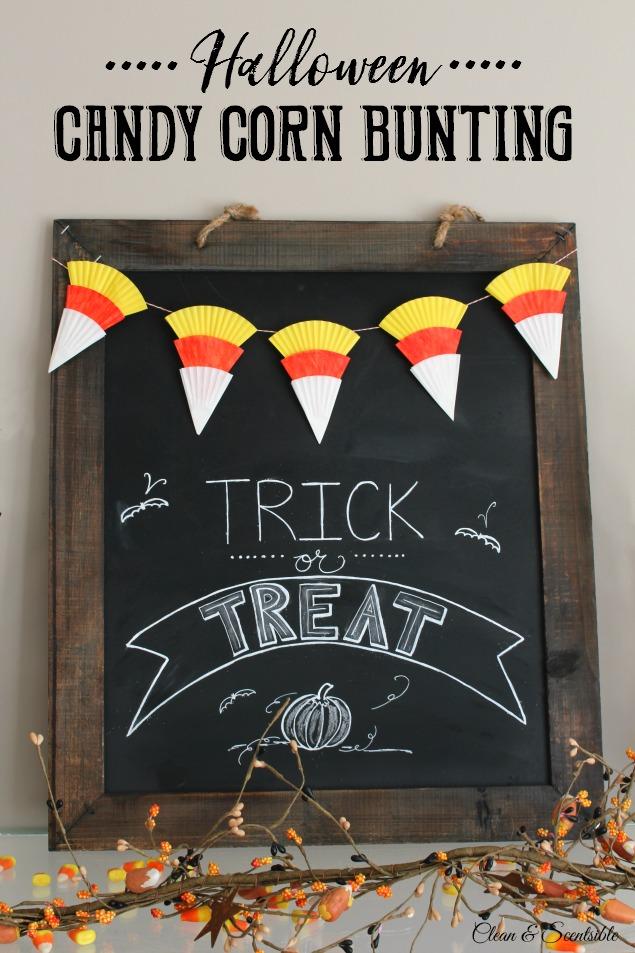Candy Corn Bunting and Halloween Chalkboard