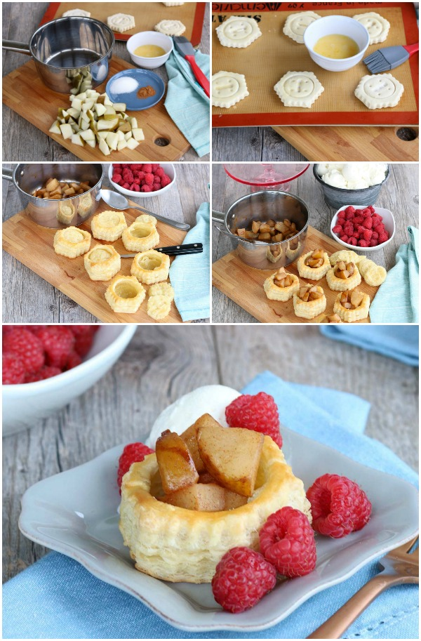 Step by step visual of how to make pear puff pastry tarts.