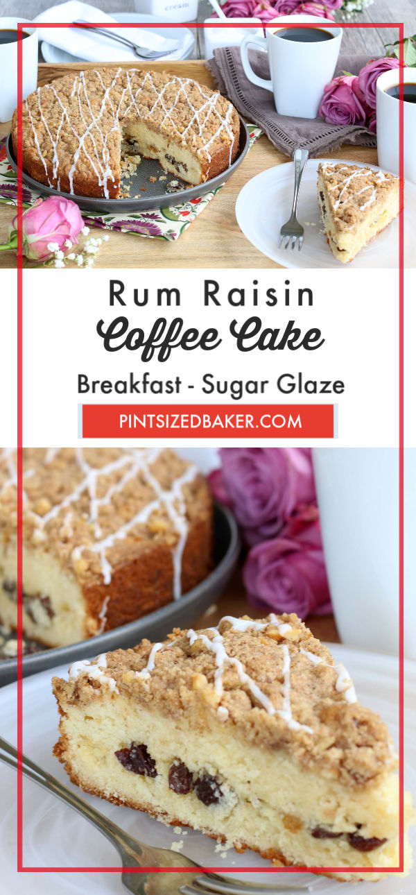 This Rum Raisin Coffee Cake is perfect for your ladies day brunch or family dessert.