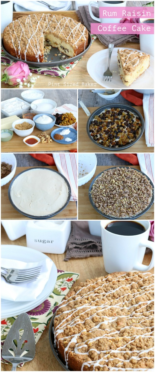 Rum Raisin Coffee Cake collage with images of ingredients and layers of making the cake.