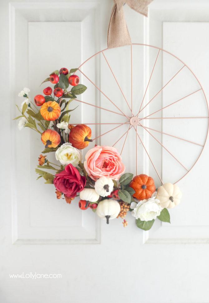 fall wheel wreath tutorial
