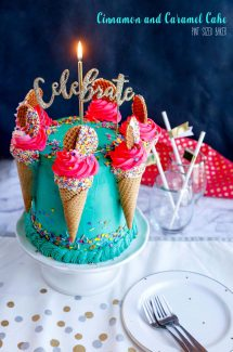 Hold on to your seats, because this Cinnamon Caramel Cake is wrapped up in an amazing combination of hot pink and teal buttercream that is going to knock your socks off!