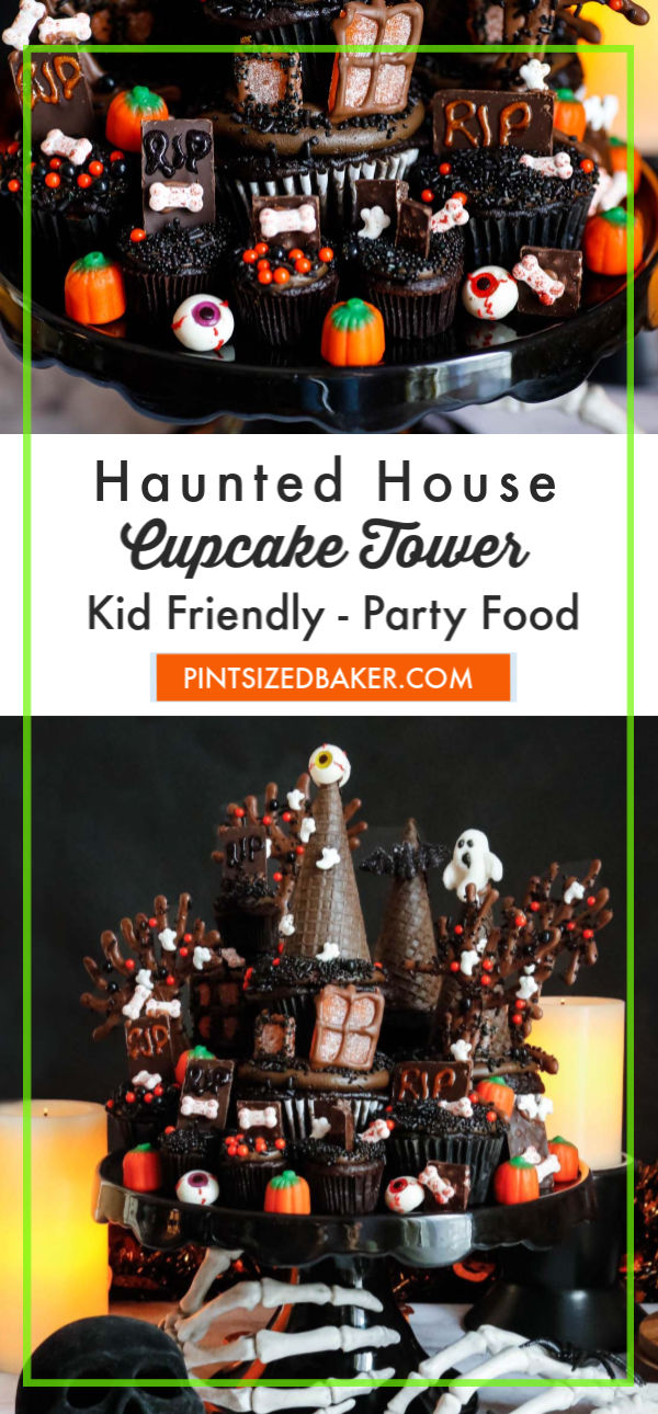 A Haunted House Cupcake Tower is your tastiest nightmare creation! Make it spooky or make it fun, either way the chocolate cupcakes taste amazing!