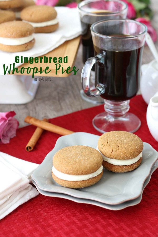 An image linking to a recipe for my gingerbread whoopie pies that are so simple and delicious.