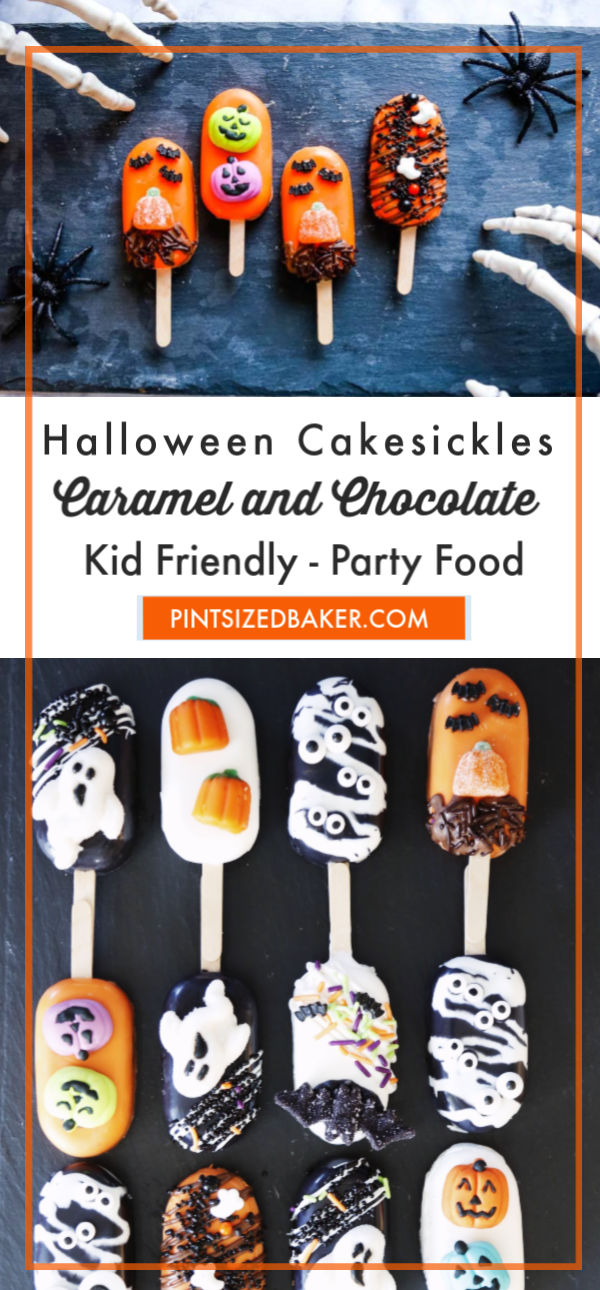 These boo-tiful Halloween Chocolate and Caramel Cakesicles are going to bring down the house at your spooktacular Halloween party!