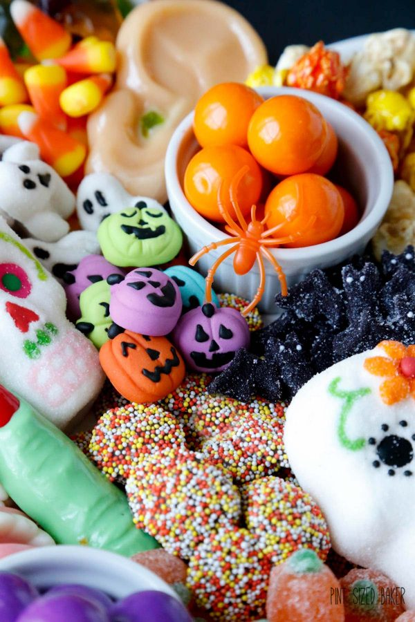 Candy witch finger, candy ear, gumballs, and other various Halloween candy.