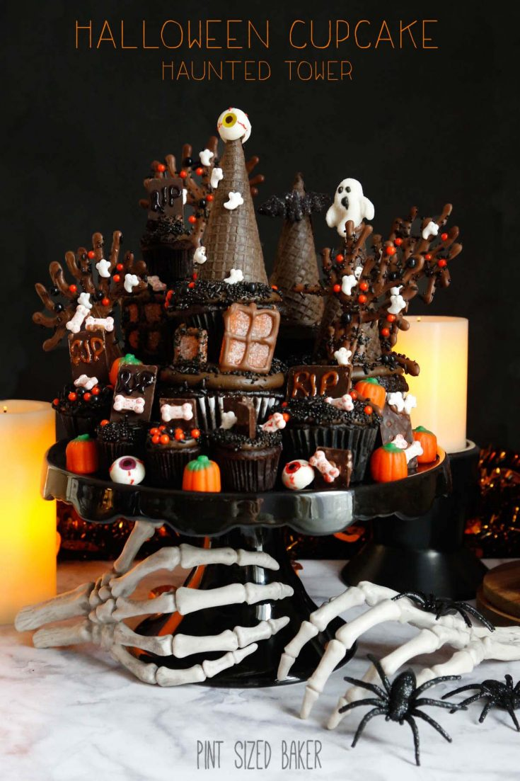 A Haunted House Cupcake Tower is your tasties nightmare creation! Make it spooky or make it fun, either way the chocolate cupcakes taste amazing!