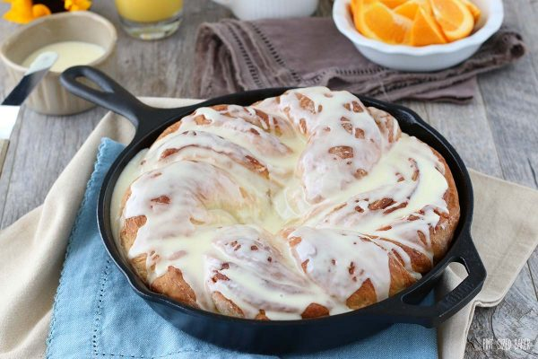 Finished bread twist still in the cast iron skillet. Perfect twist bread ready to eat.