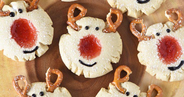Red-Nosed Reindeer Thumbprint Cookies