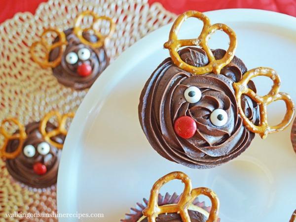 Reindeer Cupcakes with Pretzel Twist Ears