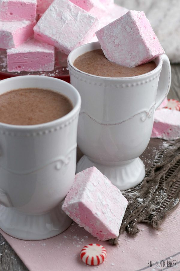 Finished pink marshmallows being served up with hot chocolate.