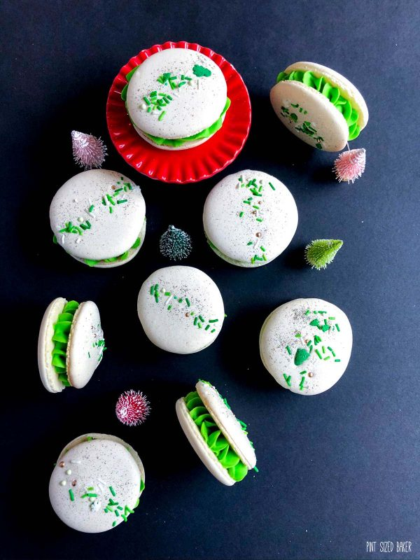 An overhead view of the Italian Macarons with mint green buttercream filling.