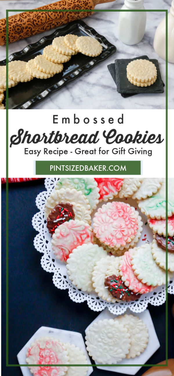 Step up your shortbread cookie game with an embossing rolling pin. These embossed shortbread cookies are easy to make and look amazing on a cookie platter.