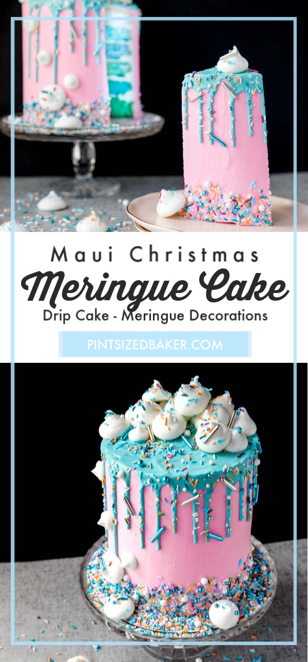 A fun sprinkle medley makes all the difference to this amazing Christmas Cake. The Maui Christmas sprinkle collection is baked on the meringues and decorating the six layer cake.