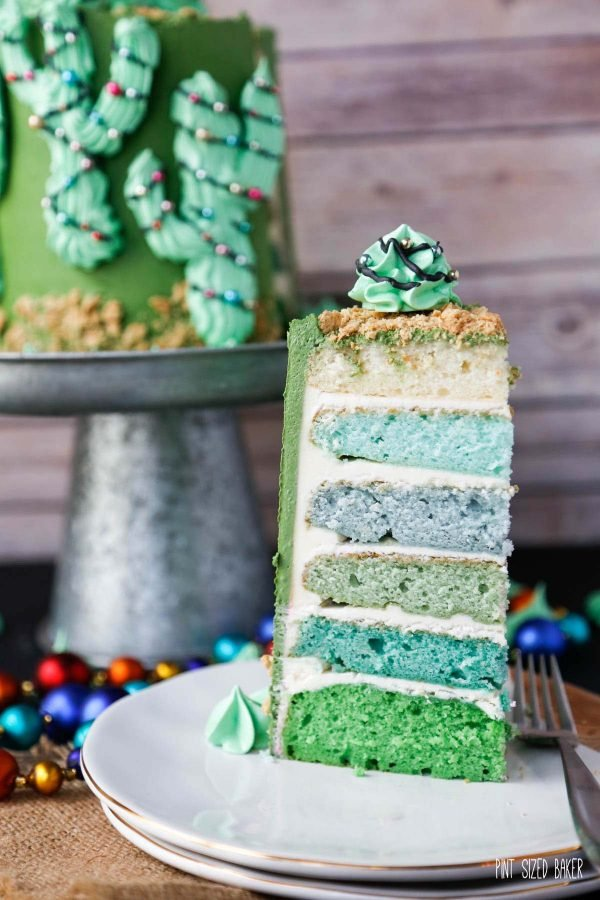 The inside of the cactus cake showing off the layers of blue and green inside.