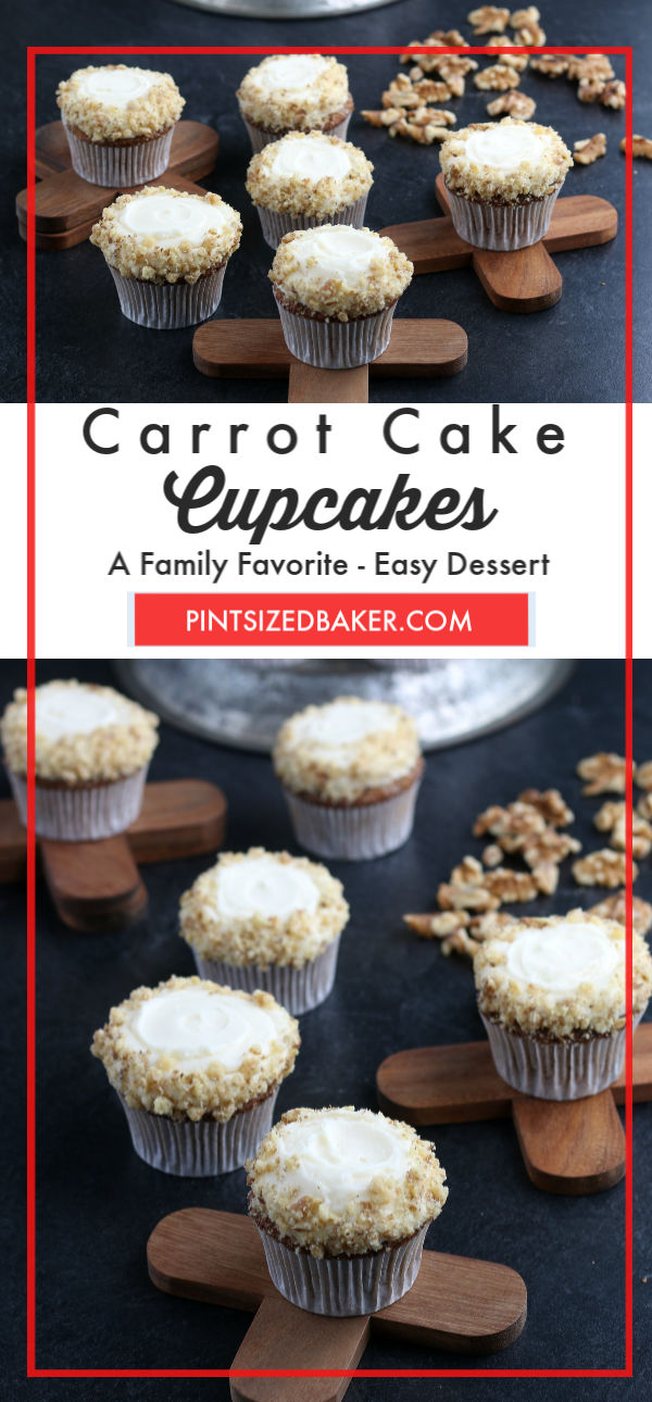 Collage image with text for the Carrot Cake Cupcakes. This is a great image to pin.