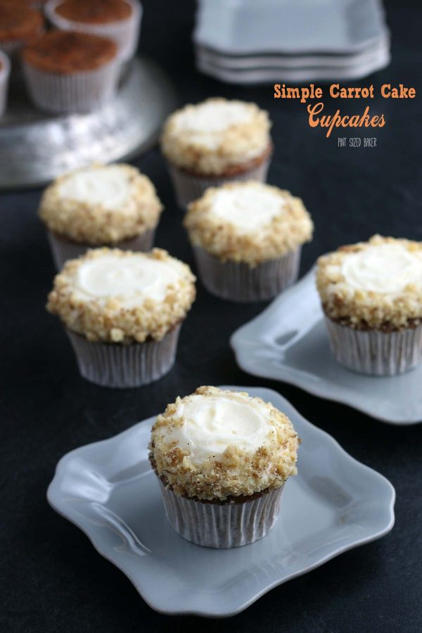 Lead in image showing the Carrot Cake Cupcakes with cream cheese frosting and chopped nuts.