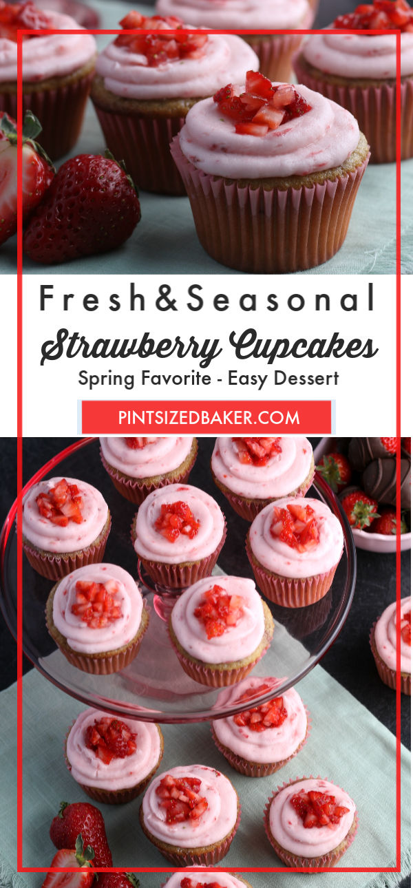 Head out to the strawberry patch and pick a peck of strawberries to make the best fresh strawberry cupcakes at home and all from scratch!