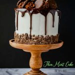A Thin Mint Cookie Cake on a wooden cake pedestal.
