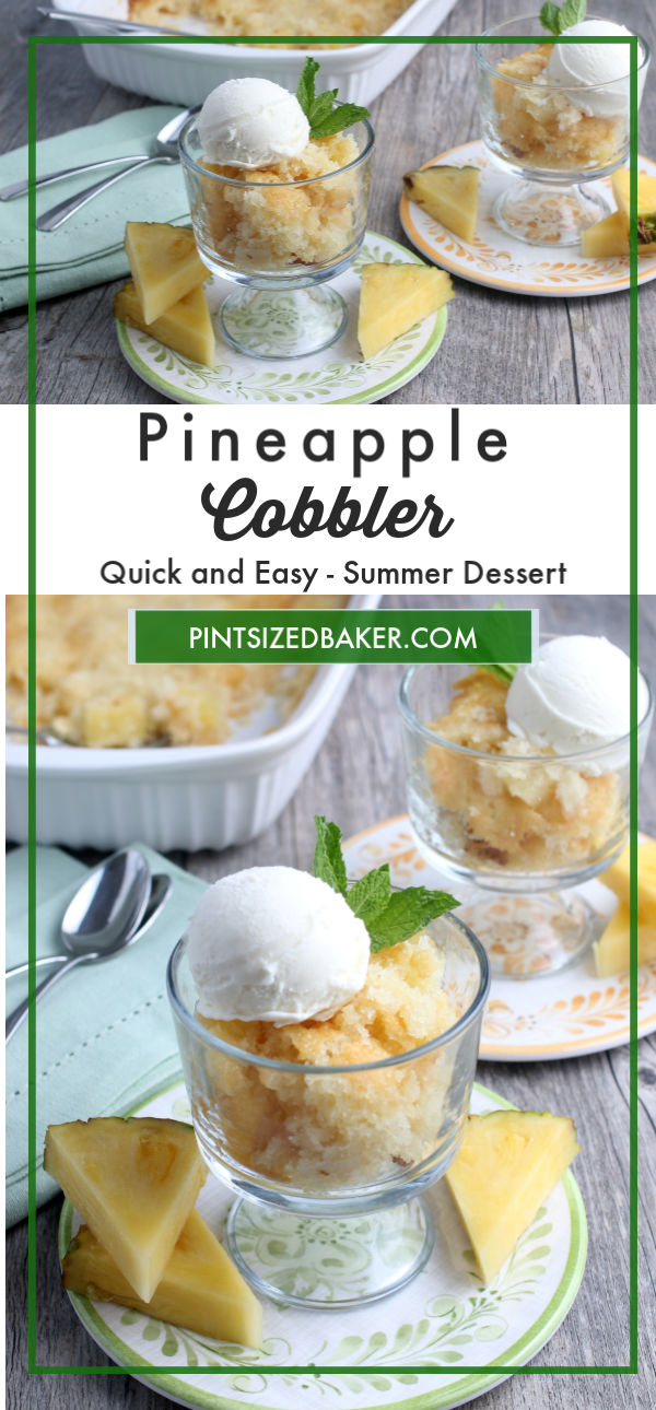 A collage of the Pineapple Cobbler recipe.