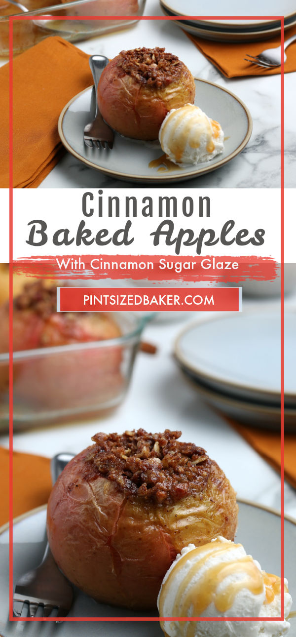 A collage image of the Cinnamon Baked Apples with the title text layover.