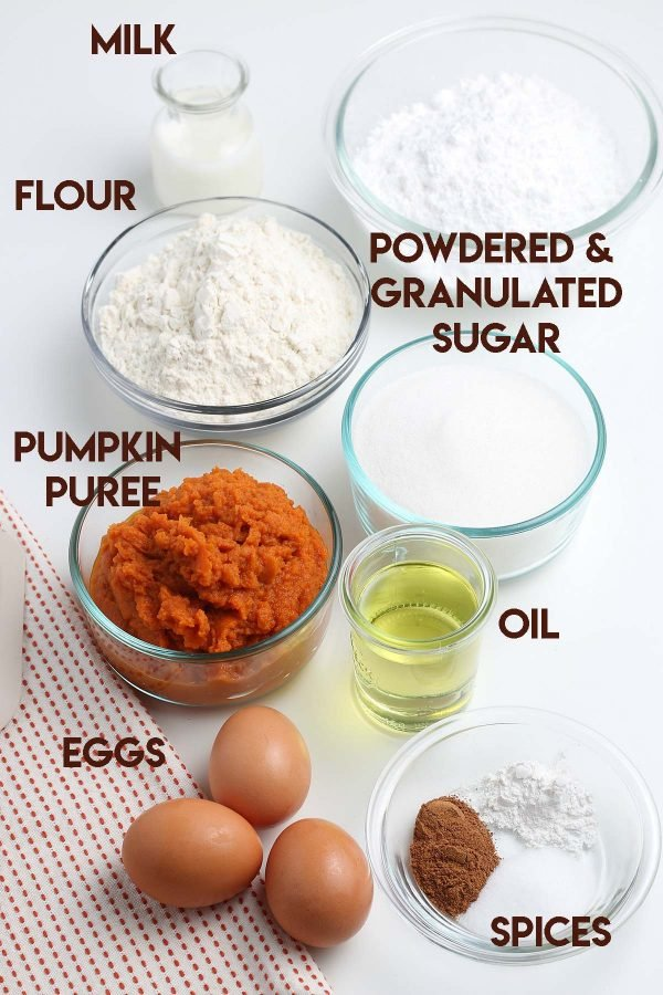 An image of all the ingredients needed for this pumpkin donut recipe.