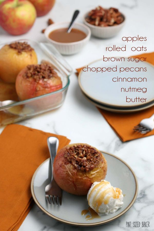An image of the oat stuffed cinnamon baked apple with a list of the ingredients.