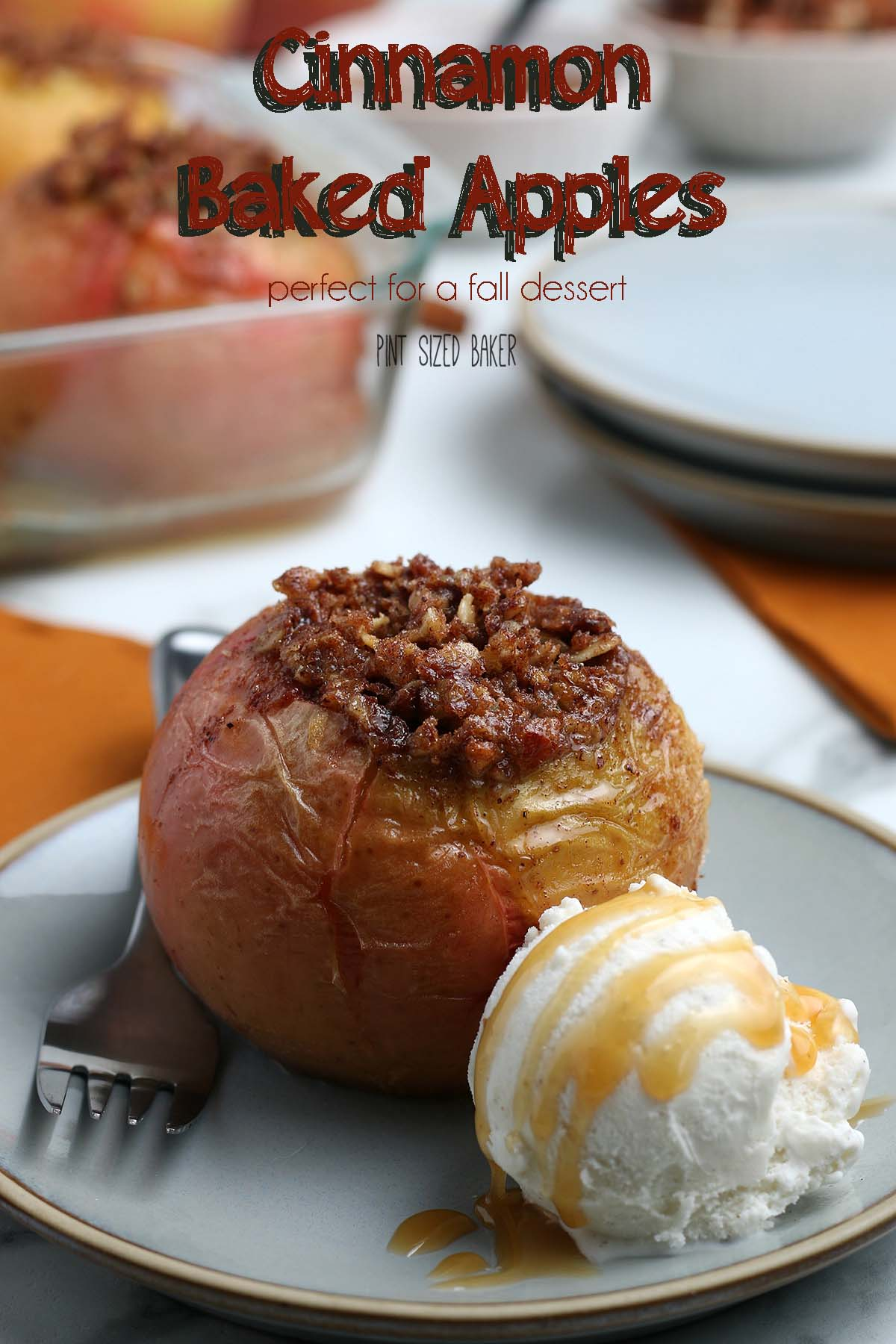 Warm up on a fall night with these easy cinnamon baked apples. Serve them up with a scoop of ice cream drizzled with caramel sauce for dessert.