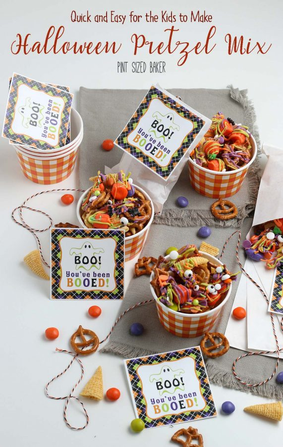 The lead in image with the title of the recipe for the Halloween Pretzel Mix and printable tags.