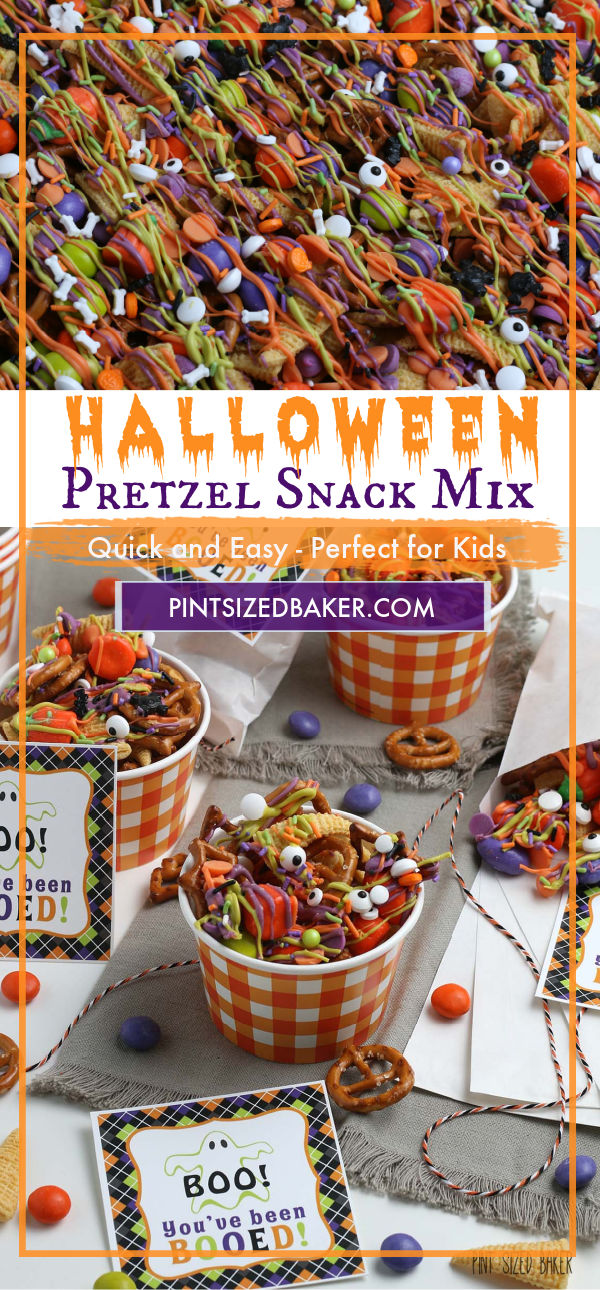 A collage image with text of the Halloween Snack Mix.