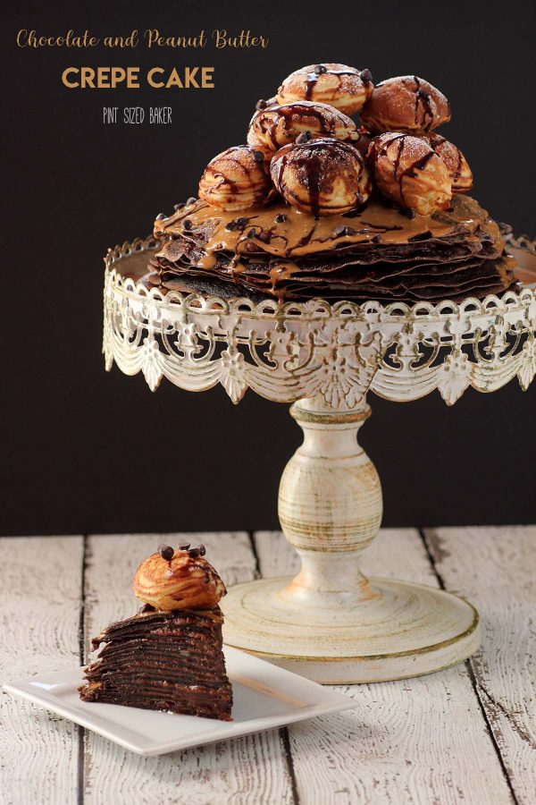 "Lean-in image with text ""Chocolate and peanut butter crepe cake""."