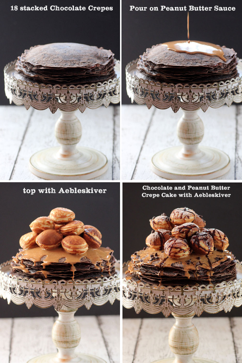 Collage image on how to assemble the chocolate and peanut butter crepe cake.