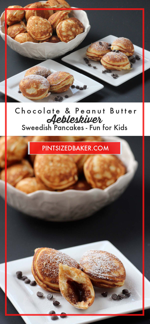 The kids are going to love these Chocolate Peanut Butter Aebleskiver for dessert. They are little Danish Pancakes made in a special pan.