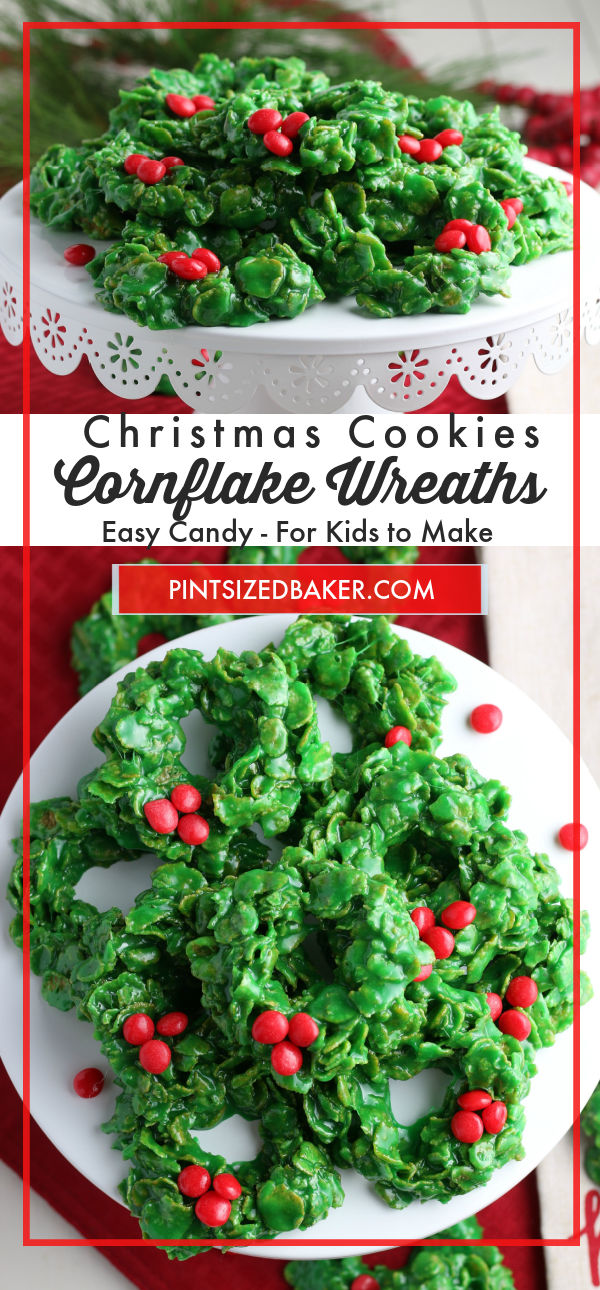 Collage image of  the Cornflake Wreaths with text overlay.