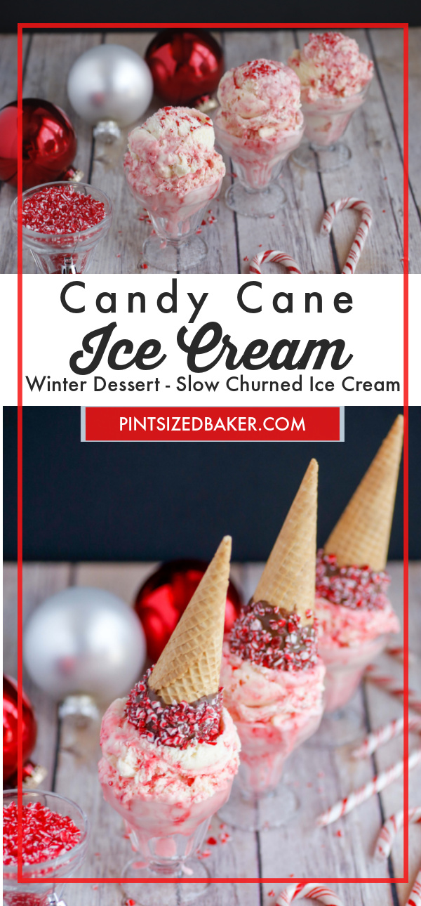 """A collage image with two photos and the text """"Candy Cane Ice Cream""""."""