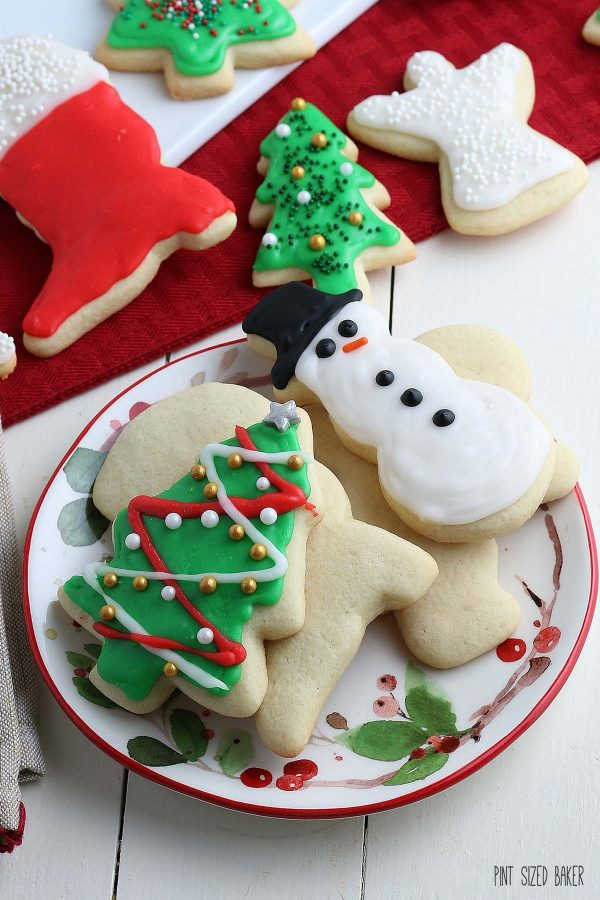 More holiday cookies on a plate.