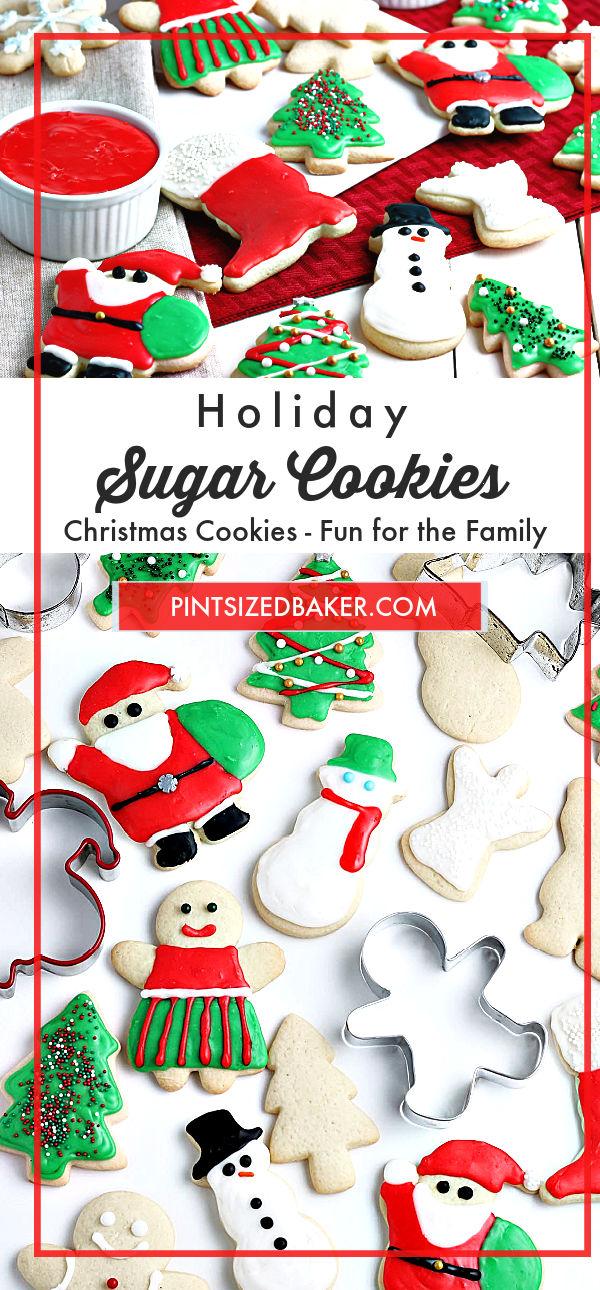"A collage image with the text ""Holiday Sugar Cookies"" and two images of the decorated cookies."