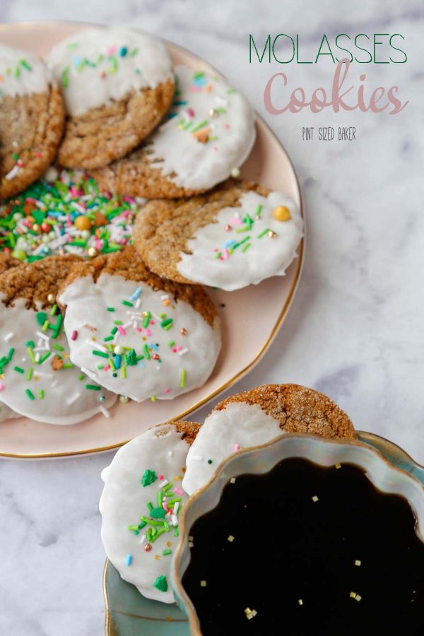 Lead in image of icing dipped soft molasses cookies on a platter with a cup of black coffee.