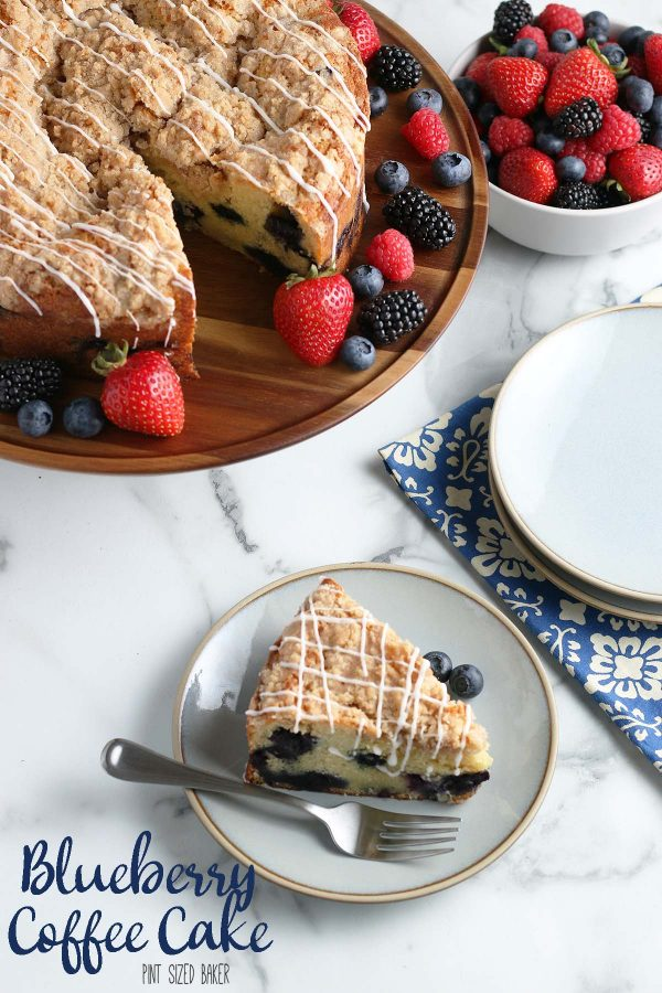 Lean in image of the Blueberry Coffee Cake slice on a plate with a fork and the remainder of the cake is on a platter with fresh berries.