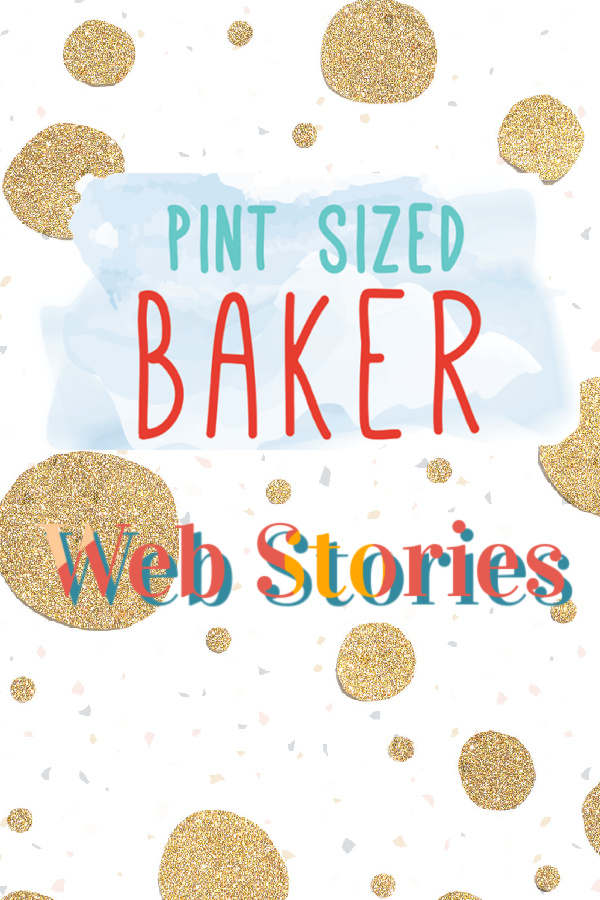 """A graphic with my logo """"Pint Sized Baker"""" and the text """"Web Stories"""""""