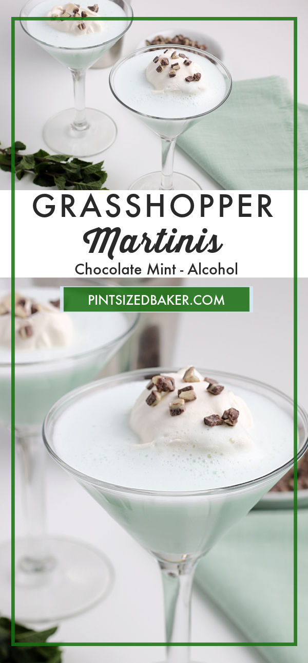 Collage image of the Grasshopper Martinis. This image is perfect for pinning.