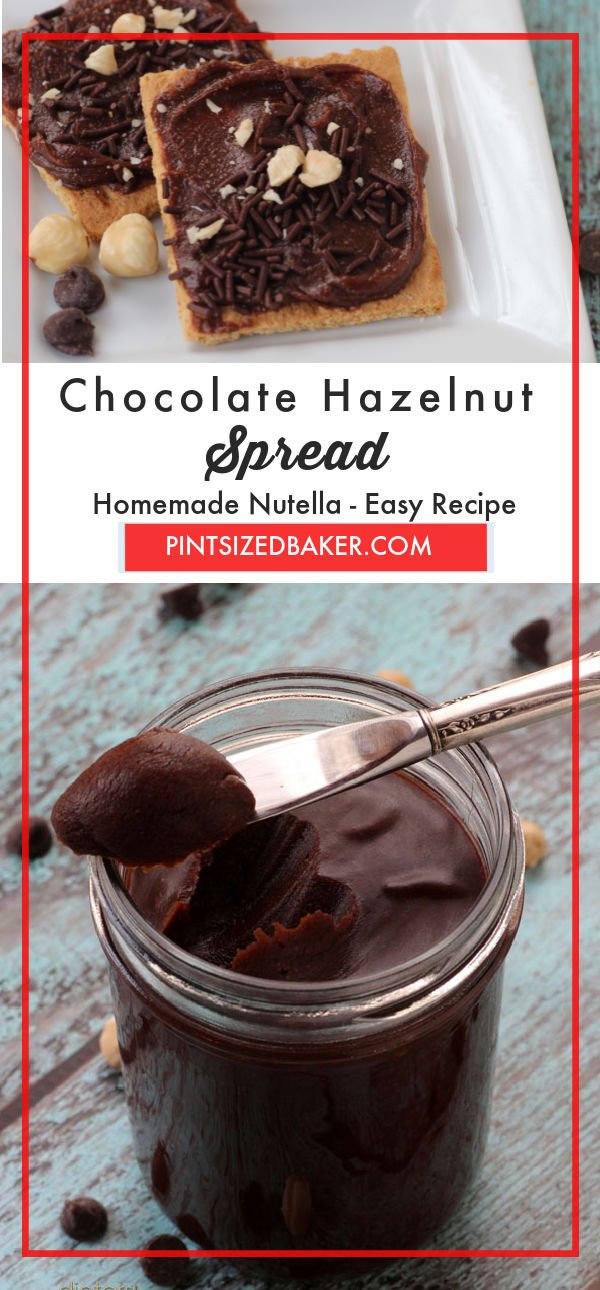 This homemade chocolate hazelnut spread is easy to make and has way less sugar than the store bought variety.