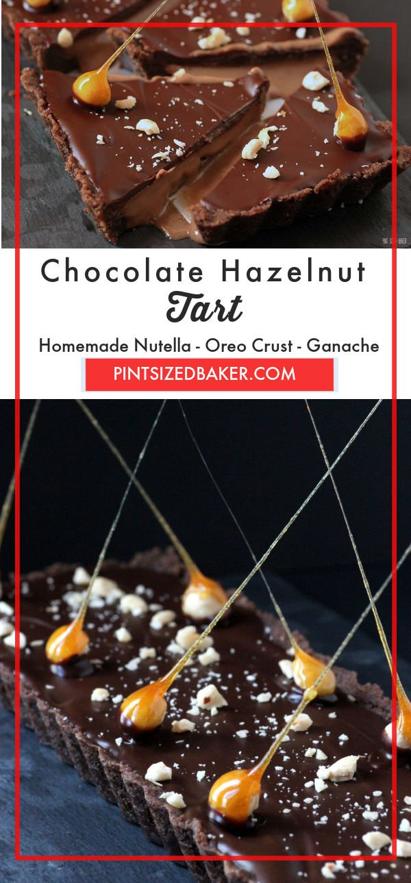 All homemade, nothing from a package - this Chocolate Hazelnut Tart is topped with candied hazelnuts to make the presentation over-the-top.