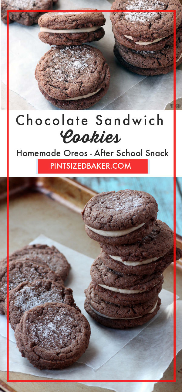These chocolate sandwich cookies are similar to homemade Oreo cookies. Eat them as is or make the frosting filling for a great snack.