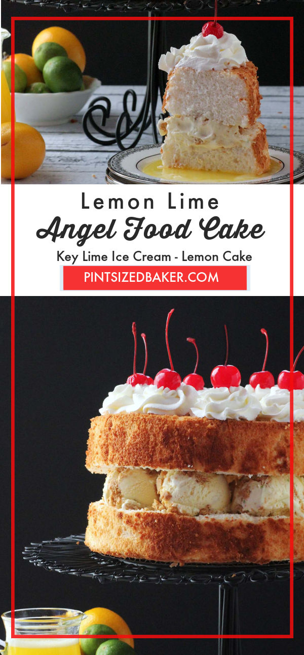 Collage image of the lemon lime dessert with text.