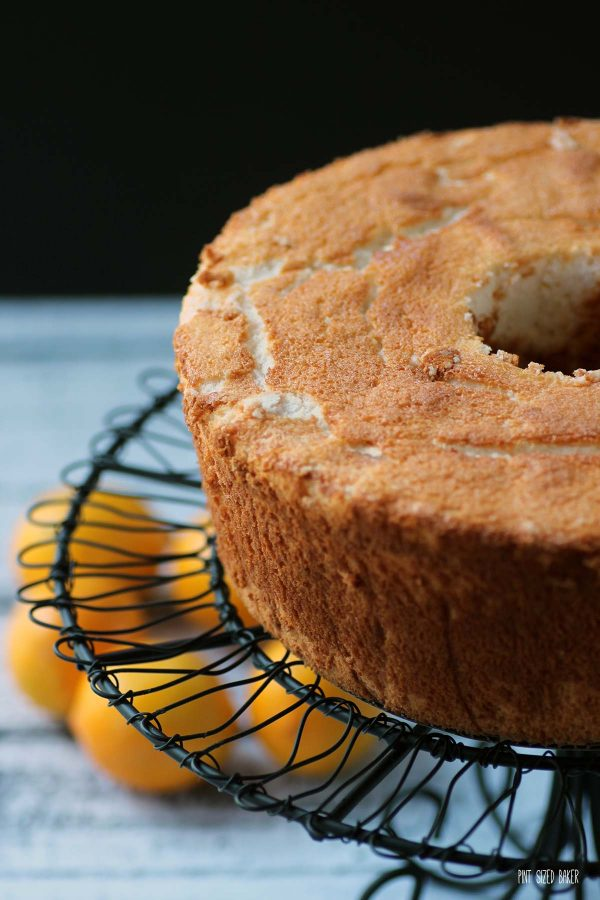 A close up look at the crumb of the angel food cake.